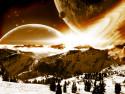 Tapeta Space into mountains