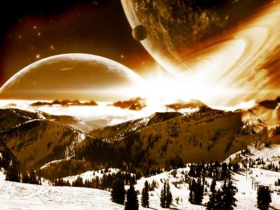 Tapeta: Space into mountains
