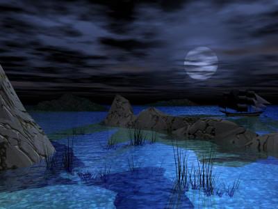Tapeta: Zátoka v noci